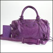 Balenciaga 2013 Ultraviolet Lambskin Classic Boston/Polly Bag