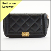 Chanel Black Boy Medium Zipped Wallet