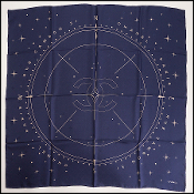 Chanel Navy Star Compass Jacquard Silk Scarf