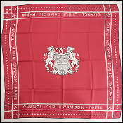 Chanel Red Lion Crest Silk Scarf