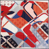 Chanel Blue/Red/Multi. Coco CC Logo Silk Scarf