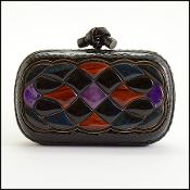 Bottega Veneta Limited Edition Snakeskin/Stones Knot Clutch