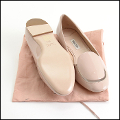 Size 37.5 Miu Miu Nude Patent/Clear Vamp Leather Flats