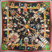Hermes Black/Red Kachinas 90cm Silk Scarf by Kermit Oliver