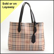 Burberry Black Leather/Haymarket Check Reversible Tote Bag