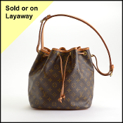 Louis Vuitton 2001 LV Monogram Drawstring Petite Noe Bucket Bag