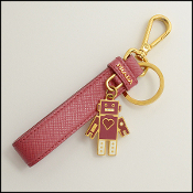 Prada Pink Leather Strap Robot Key Ring Holder