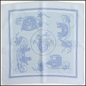 Hermes Light Blue/Grey Ex Libris Silk Pocket Square