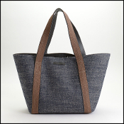 Brunello Cucinelli Denim Monili Bead Handle Tote Bag