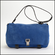 Proenza Schouler Blue Suede Black Leather Bag