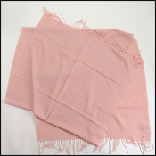 Chanel Pink Cashmere/Silk Long Scarf with Fringe