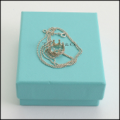Tiffany & Co. Sterling Silver Beaded Necklace w/Crown Pendant