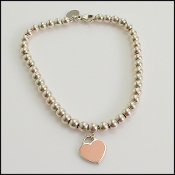 Tiffany & Co. Pink Enamel Mini Heart Silver Beaded Bracelet