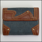 Celine Vintage Denim/Leather Bifold Wallet