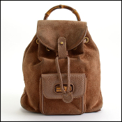 Gucci Brown Suede Leather Bamboo Handle Backpack