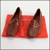 Size 9 Robert Zur Brown Woven Leather Driving Loafers