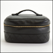 Chanel Vintage Black Quilted Leather Train Case