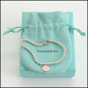 Tiffany & Co. Sterling Silver Mini Pink Heart Beaded Bracelet