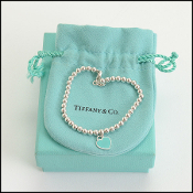Tiffany & Co. Blue Mini Enamel Heart Sterling Beaded Bracelet