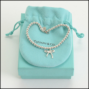 Tiffany & Co. Sterling Silver Bow Beaded Bracelet