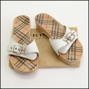 Size 39 Burberry White Leather Nova Check Wooden Slide Sandals