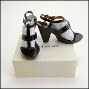 Givenchy Black Patent Leather High Heel Sandals (Size 40)