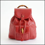 Gucci Red Smooth Leather Bamboo Handle Backpack PM