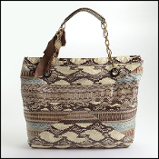 Lanvin Brown/Beige Watersnake Tote Bag w/Chain Strap