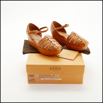 Tod's Tan Perforated Leather Wedge Shoes (Size 37)
