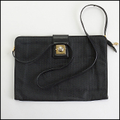 Fendi Vintage Black Striped Coated Canvas Flat Zip Bag w/Strap