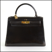 Hermes Vintage Black Box Leather Kelly Sellier 28cm Handbag