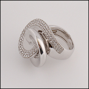 Roberto Coin 18K White Gold Pave Diamond Swirl Ring