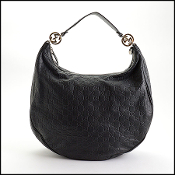 Gucci Black Guccissima Leather Twins Hobo Bag