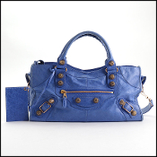 Balenciaga '10 Outremer Blue Rose Gold Giant Part Time Bag