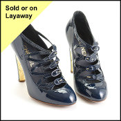 Size 36 Chanel Navy Patent Multi-Buckle Heels