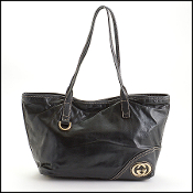 Gucci Black Leather Britt Interlocking Logo Tote