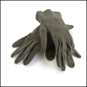 Chanel Dark Green Suede Gloves