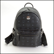 MCM Black Visetos Studded Small Backpack