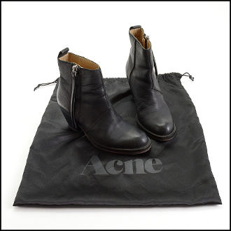 Size 37 Acne Studios Black Leather Boots