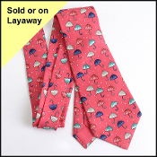 Hermes Red Umbrellas & Raindrops Silk Men's Tie