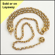 Chanel Silver Leather Gold Chain Link Belt