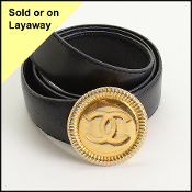 Chanel Black Leather CC Buckle Belt