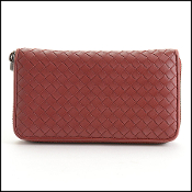 Bottega Veneta Red Intrecciato Leather Zip Wallet