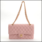 Chanel '04 Rose Pink Caviar Leather Medium Classic Double Flap