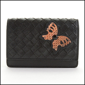 Bottega Veneta Black Intrecciato Ayers Butterfly Card Wallet