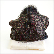 Giuliana Teso Black/Floral Print Shearling Fur Bag