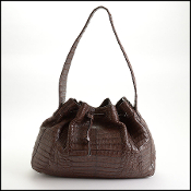 Nancy Gonzalez Brown Crocodile Drawstring Shoulder Bag