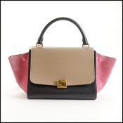 Celine Tri-Color Small Trapeze Satchel w/Strap