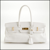 Hermes White Clemence JPG 42cm Shoulder Birkin Bag
