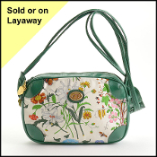 Gucci Vintage Green Leather Floral Print Shoulder Bag